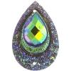Resin Sew-on Peacock Stones 10pcs 20x30mm Drop Brown Aurora Borealis